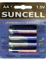 Suncell Extreme Lithium AA Battery: 4 Pack - 12 Packs/Carton