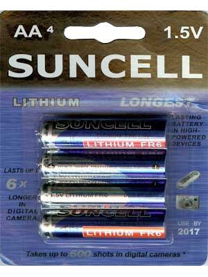 Suncell Extreme Lithium AA Battery: 4 Pack