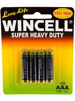 Wincell Super Heavy Duty AAA Battery: 4 Pack